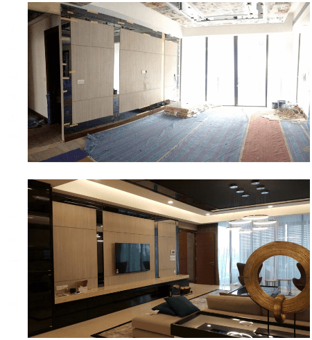 Before and after of condo unit