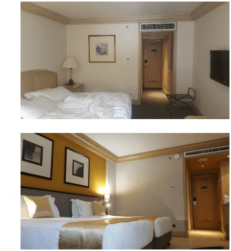 Before and after of hotel room