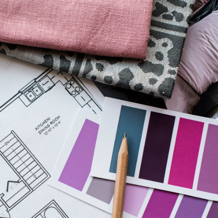 Selecting fabric and wall color